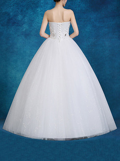 White Sweetheart Ball Gown Beading Embroidery Dress for Wedding