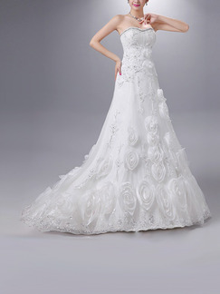 White Sweetheart A-Line Beading Embroidery Appliques Dress for Wedding