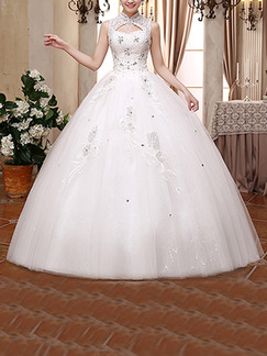 White Queen Anne High Neck Ball Gown Embroidery Beading Dress for Wedding