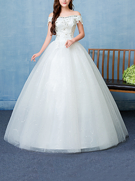 White Off Shoulder Ball Gown Beading Embroidery Appliques Dress for Wedding