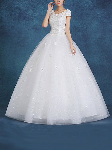 White Bateau Ball Gown Beading Embroidery Appliques Dress for Wedding