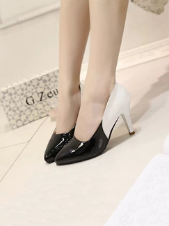 Black and White Leather Pointed Toe High Heel Stiletto Heel Pumps 8cm Heels