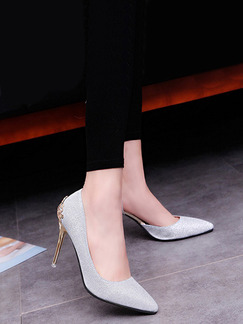 Silver and Gold Leather Pointed Toe High Heel Stiletto Heel Pumps 9cm Heels