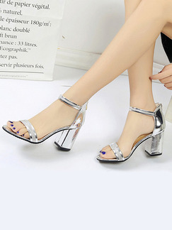 Silver Leather Open Toe High Heel Chunky Heel Ankle Strap 8cm Heels
