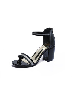 Black and Silver Leather Open Toe High Heel Chunky Heel Ankle Strap 8cm Heels