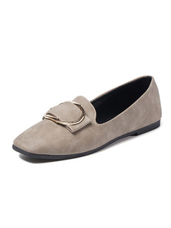 Grey Leather Round Toe Flats