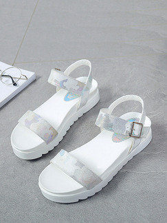White and Grey Leather Open Toe Platform Ankle Strap Sandals