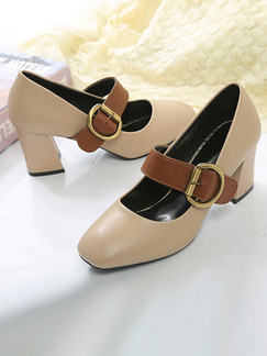 Brown and Beige Leather Round Toe High Heel Chunky Heel Pumps 5CM Heels