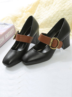 Black and Brown Leather Round Toe High Heel Chunky Heel Pumps 5CM Heels