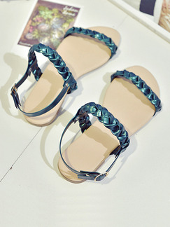 Blue Leather Open Toe Ankle Strap Sandals