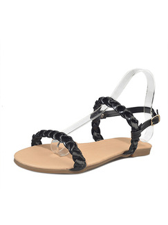 Black and Beige Leather Open Toe Ankle Strap Sandals