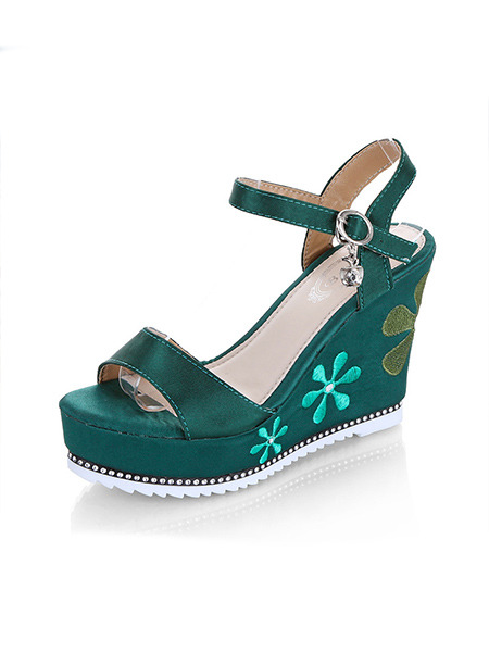 Green Leather Open Toe Platform Ankle Strap 10cm Wedges