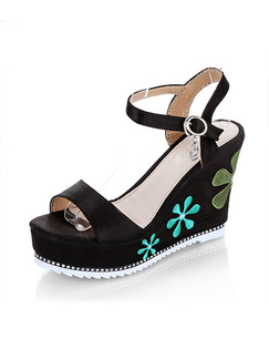 Black and Green Leather Open Toe Platform Ankle Strap 10cm Wedges