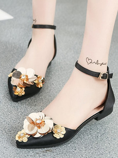 Black and Gold Leather Pointed Toe Ankle Strap Flats