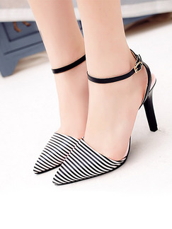 Black and White Leather Pointed Toe High Heel Stiletto Heel Ankle Strap 9.5cm Heels