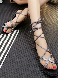 Silver and Black Leather Open Toe Strappy Gladiator Sandals