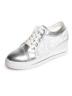 913bb7f36c7 Silver and White Patent Leather Round Toe Lace Up Rubber Shoes Wedges ...