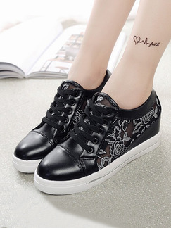 Black and White Leather Round Toe Lace Up Rubber Shoes Wedges