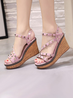 Pink and Brown Leather Open Toe Platform Ankle Strap 9cm Wedges