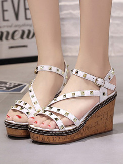 White and Brown Leather Open Toe Platform Ankle Strap 9cm Wedges