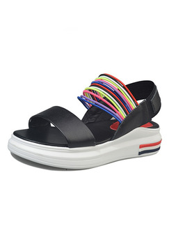 Black and White Colorful Leather Open Toe Platform Ankle Strap 4.5cm Sandals