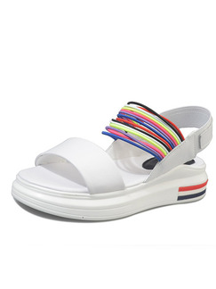 White Colorful Leather Open Toe Platform Ankle Strap 4.5cm Sandals