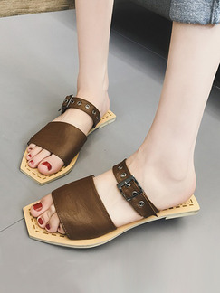Brown Leather Open Toe Sandals