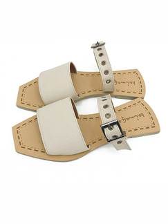 Beige Leather Open Toe Sandals