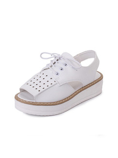 White Leather Peep Toe Platform Ankle Strap Lace Up 4cm Sandals
