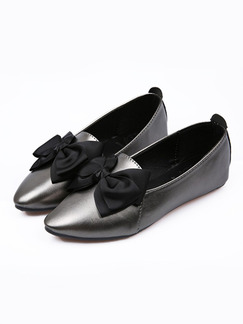 Silver and Black Leather Pointed Toe Flats