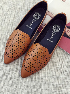 Apricot Leather Pointed Toe Flats