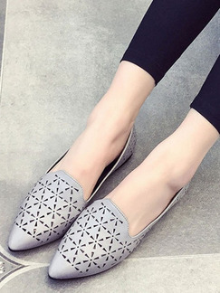 Grey Leather Pointed Toe Flats
