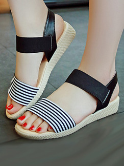 Black White and Beige Canvas Open Toe Ankle Strap Sandals