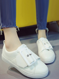 White Leather Round Toe Rubber Shoes
