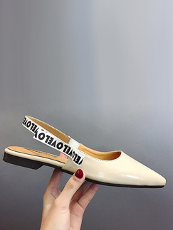 Beige Leather Pointed Toe Ankle Strap Flats