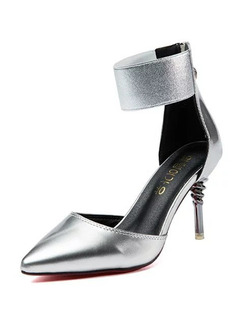 Silver Patent Leather Pointed Toe High Heel Stiletto Heel Ankle Strap 8cm Heels