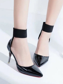 Black Patent Leather Pointed Toe High Heel Stiletto Heel Ankle Strap 8cm Heels