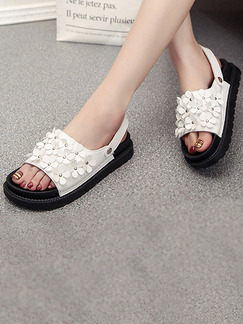 Black and White Leather Open Toe Ankle Strap Sandals