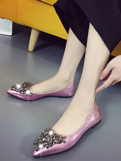 Pink Leather Pointed Toe Flats
