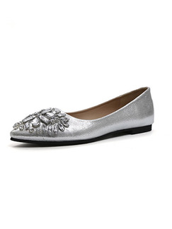 Silver Leather Pointed Toe Flats