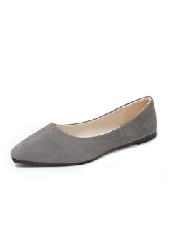 Grey Suede Pointed Toe Flats