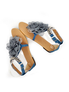Blue Grey and Beige Leather Open Toe Ankle Strap Sandals