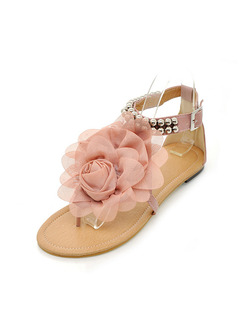 Pink and Beige Leather Open Toe Ankle Strap Sandals