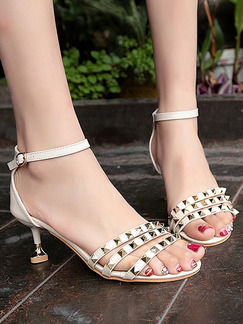 White and Gold Leather Open Toe High Heel Stiletto Heel Ankle Strap 6cm Heels