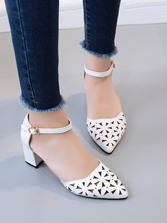 White Leather Pointed Toe High Heel Chunky Heel Ankle Strap 6cm Heels
