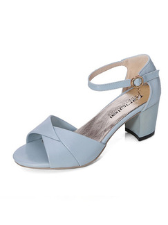Blue Leather Open Toe High Heel Chunky Heel Ankle Strap Heels