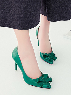 Green Patent Leather Pointed Toe High Heel Stiletto Heel Pumps 8cm Heels