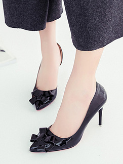 Black Patent Leather Pointed Toe High Heel Stiletto Heel Pumps 8cm Heels