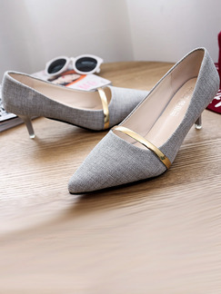 Grey and Gold Canvas Pointed Toe High Heel Stiletto Heel Pumps 5.5cm Heels