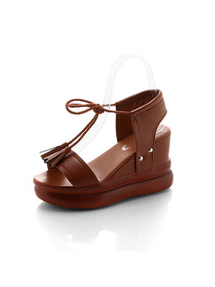 Brown Leather Open Toe Platform Ankle Strap 9cm Wedges